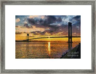 Verrazano Bridge During Sunset Framed Print