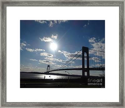 Verrazano Bridge Sunset Framed Print by Lyric Lucas
