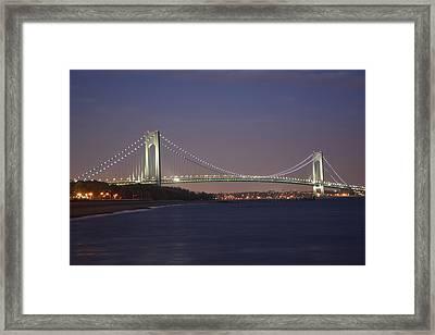 Verrazano Narrows Bridge At Night Framed Print by Kenneth Cole