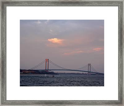 Verrazano Narrows Bridge At Sunset Framed Print