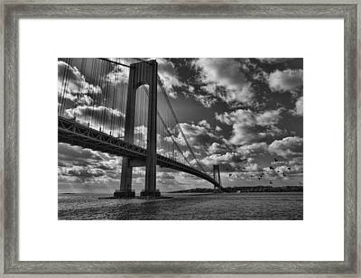 Verrazano Narrows Bridge In Bw Framed Print