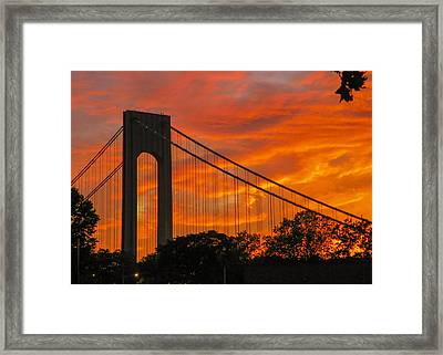 Verrazano Sunset Framed Print by Jon Woodhams