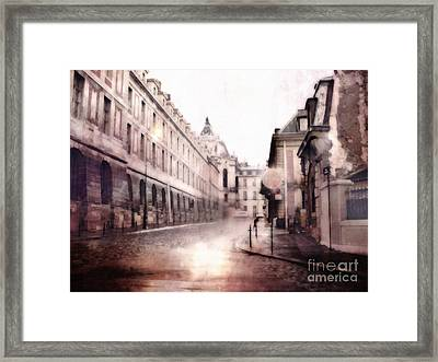 Versailles France Cobblestone Streetscape  - Romantic Versailles Architecture Painting  Framed Print by Kathy Fornal