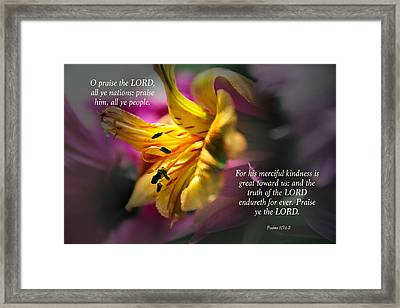 Verses From Psalms 117 Framed Print by Debbie Nobile