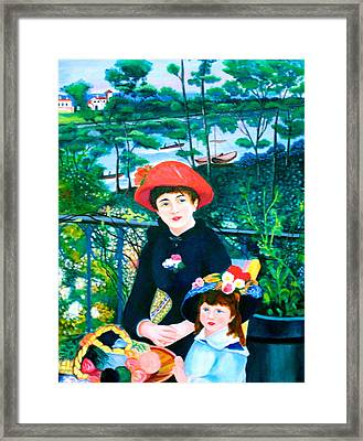 Version Of Renoir's Two Sisters On The Terrace Framed Print by Lorna Maza