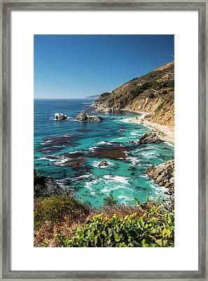 Vertical Big Sur Coastline California Framed Print by Sheila Haddad