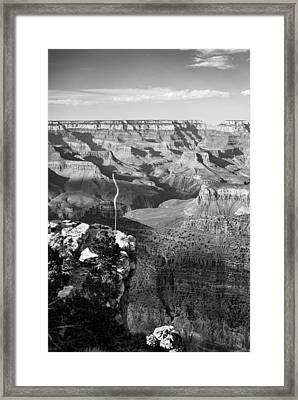 Vertical Grand Canyon At Sunset - Bw Framed Print by Gregory Ballos