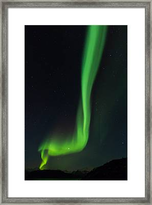 Vertical Ray Of Northern Lights In Norway Framed Print