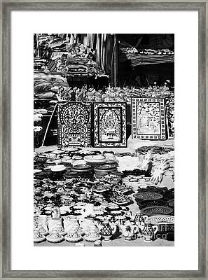Vertical Rows Of Local Speciality Ceramics For Sale To Tourists On A Stall In The Souk Market In Nabeul Tunisia Framed Print