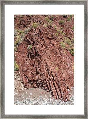 Vertically Inclined Sandstone Strata Framed Print by David Parker