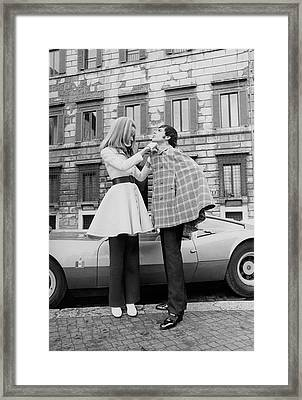 Veruschka And Tomas Milian Framed Print by Franco Rubartelli