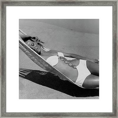 Veruschka Von Lehndorff Lying In A Hammock Framed Print