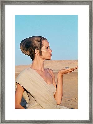 Veruschka Von Lehndorff Sitting In A Desert Framed Print