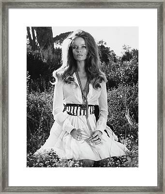 Veruschka Von Lehndorff Sitting In Tall Dress Framed Print