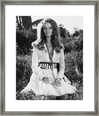 Veruschka Von Lehndorff Sitting In Tall Dress Framed Print by Franco Rubartelli