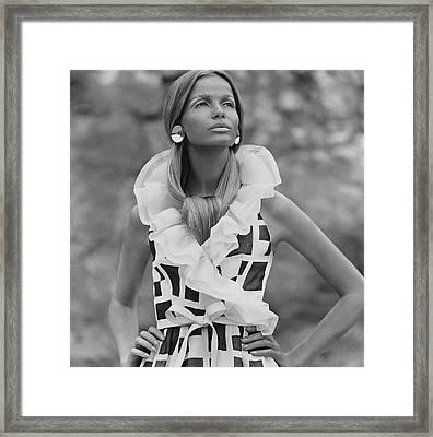 Veruschka Von Lehndorff Wearing A Fisher & Framed Print by Franco Rubartelli