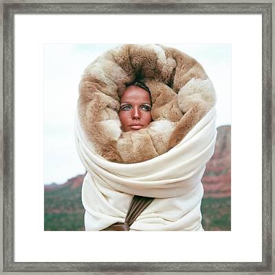 Veruschka Von Lehndorff Wearing A Fur Wrap Framed Print by Franco Rubartelli