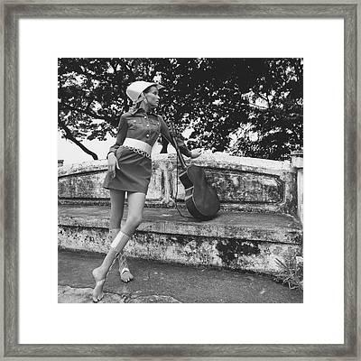 Veruschka Von Lehndorff Wearing A Shirtdress Framed Print by Franco Rubartelli