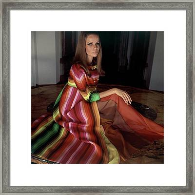 Veruschka Von Lehndorff Wearing A Striped Coat Framed Print