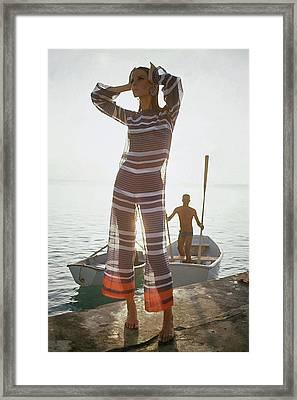 Veruschka Von Lehndorff Wearing Jumpsuit Framed Print