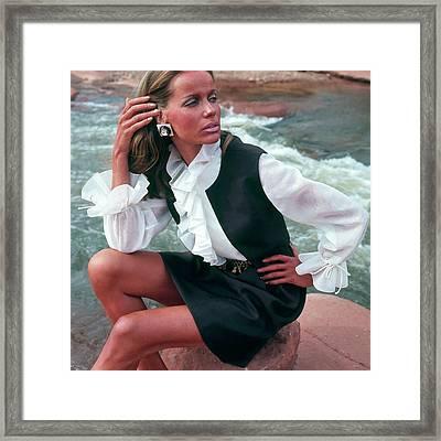Veruschka Von Lehndorff Wearing Ruffled Blouse Framed Print by Franco Rubartelli