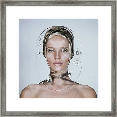 Veruschka Von Lehndorff's Face Framed By Clear Framed Print