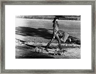 Veruschka Walking Dogs In Rome Framed Print