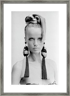 Veruschka Wearing Huff-gallant Earrings Framed Print