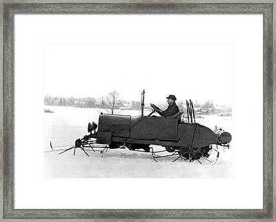 Very Early Snowmobile Framed Print by Underwood Archives