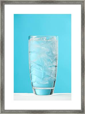 Very Full Glass Of Water With Ice Framed Print by Greg Huszar Photography