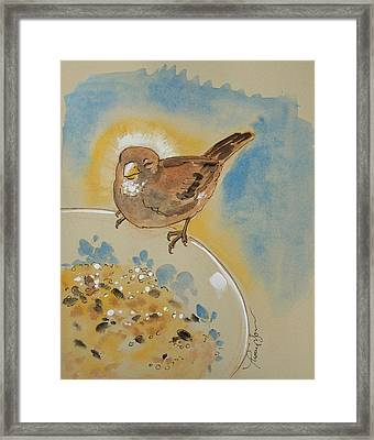 Very Happy Sparrow Framed Print by Tracie Thompson