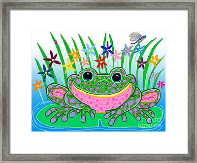 Very Happy Spotted Frog Framed Print by Nick Gustafson
