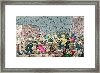 Very Unpleasant Weather Framed Print by George Cruikshank