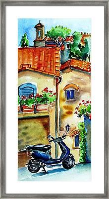 Vespa In Tuscany  Framed Print by Trudi Doyle