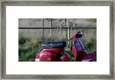 Vespa - Red Dream Framed Print by Nenad Cerovic