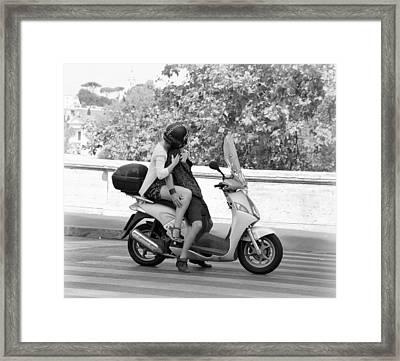 Vespa Romance Framed Print by Valentino Visentini