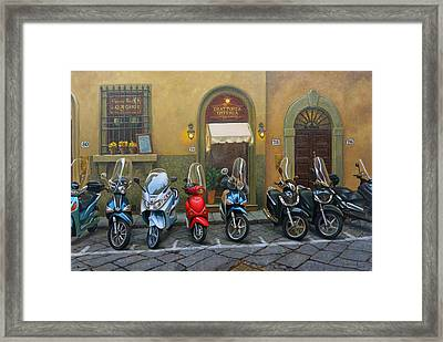 Vespas At The Trattoria Florence Italy Framed Print