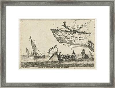 Vessel And Sailing Ships On Calm Water, Print Maker Reinier Framed Print