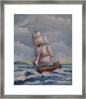 Vessel In The Sea Framed Print