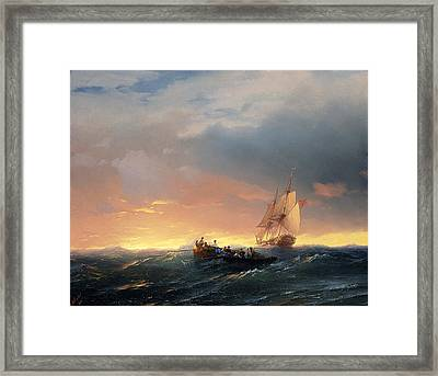 Vessels In A Swell At Sunset Framed Print by Ivan Konstantinovich Aivazovsky
