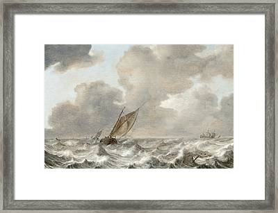 Vessels In Moderate Breeze Framed Print by Jan Porcellis