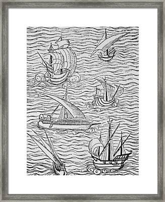 Vessels Of Early Spanish Navigators From The Narrative And Critical History Of American Framed Print by English School