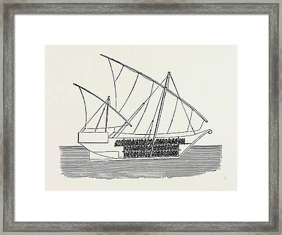 Vessels Used In The Zanzibar Slave Trade Section Of Vessel Framed Print by English School