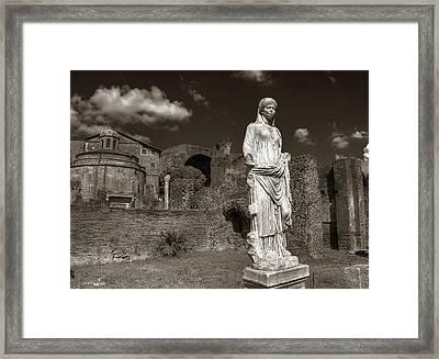 Vestal Virgin Courtyard Statue Framed Print