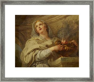 Vestal Virgin Framed Print by Francois Lemoyne