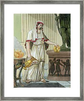 Vestal Virgin, Illustration Framed Print by Jacques Grasset de Saint-Sauveur