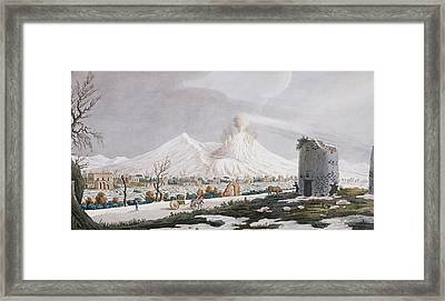 Vesuvius In Snow, Plate V From Campi Framed Print by Pietro Fabris