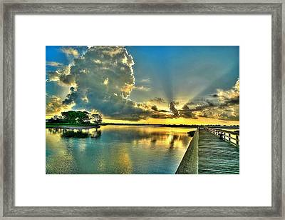 Veterans Pier Sunrise Framed Print