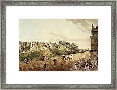 Vew Of The Old Town In Edinburgh Framed Print by British Library