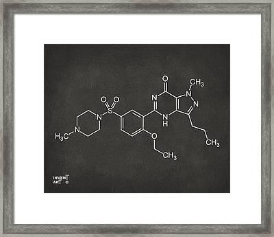 Viagra Molecular Structure Gray Framed Print by Nikki Marie Smith